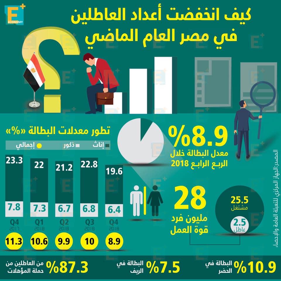 انخفاض أعداد العاطلين في مصر
