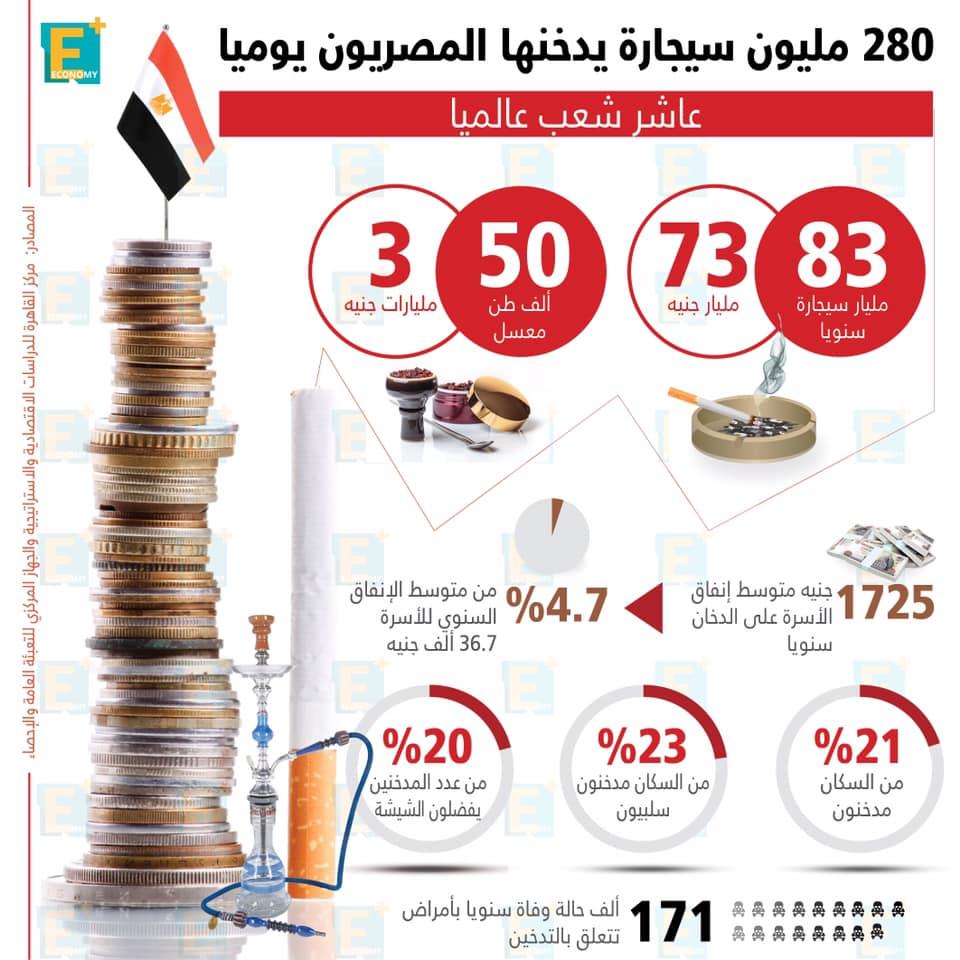 280 مليون سيجارة يدخنها المصريين يوميًا