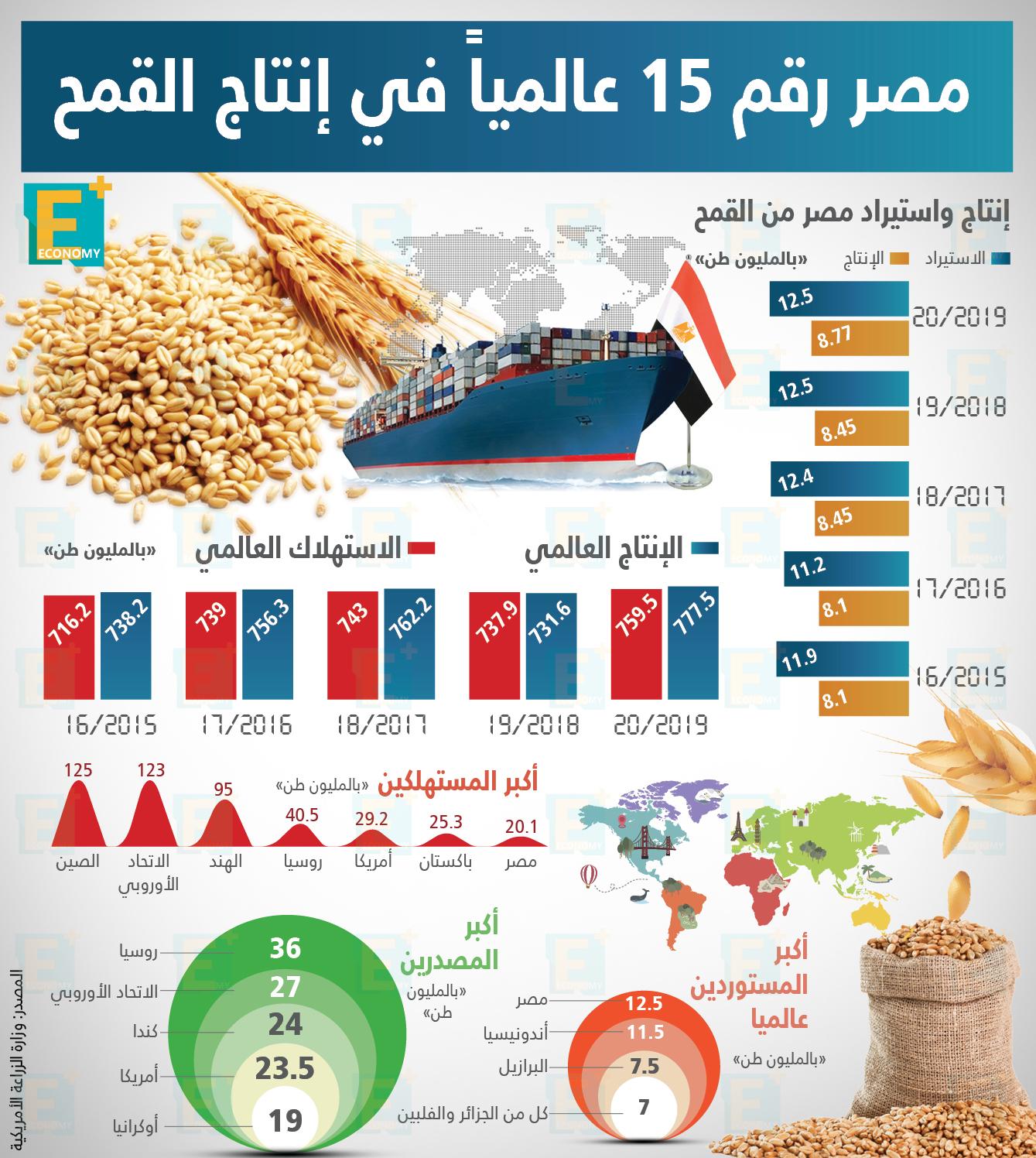 """مصر رقم 15 عالمياً في إنتاج القمح """"إنفوجراف"""""""