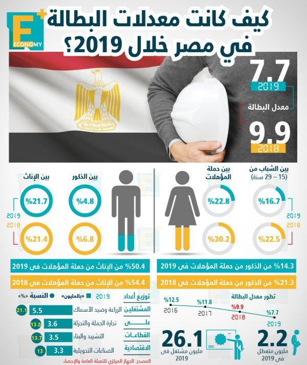 كيف كانت معدلات البطالة في مصر خلال 2019